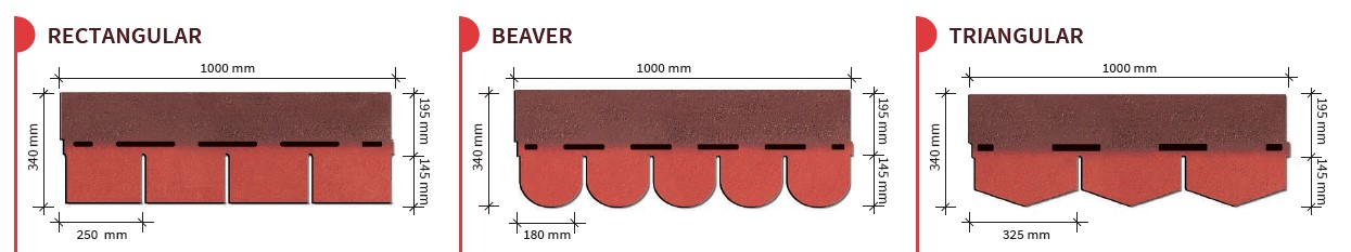 Roofing Shingle BARDOLINE CLASSIC SA03 l Sizes and Shapes